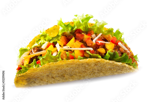 taco with meat vegetables on white background