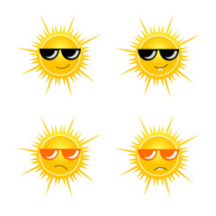 sun with sunglass vector illustration