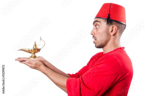 Turkish man with lamp on white