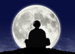 monk listening zen music at the full moon