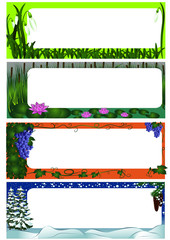Set of four season nature frames (colored version)