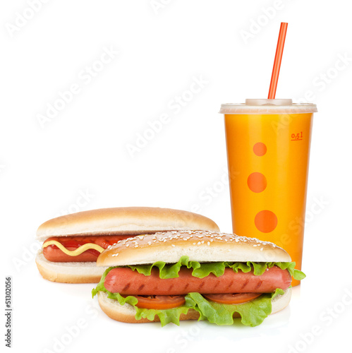Fast food drink and two hot dogs