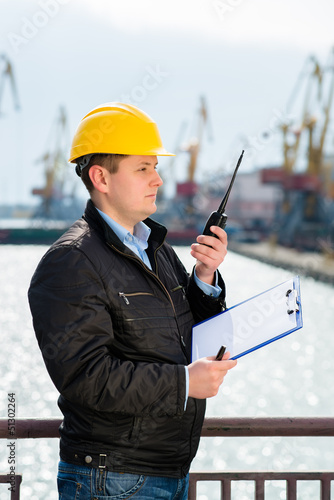 engineer on cellphone