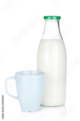 Cup of milk and glass bottle