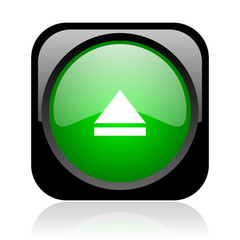 eject black and green square web glossy icon