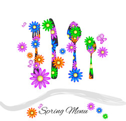 Spring menu with cutlery and colorful daisies