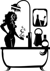 silhouette in the bathroom