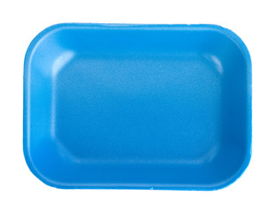 Blue empty food tray