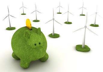 Konzept Ökostrom, Sparen und Windenergie
