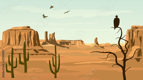 Fototapeta Horizontal cartoon illustration of prairie wild west.