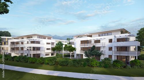 Weißes Apartmenthaus - white minimalistic apartmenthouse