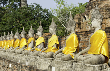 Buddhist statues in a row