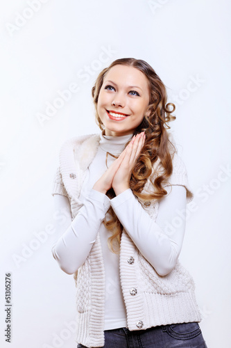 Young woman wearing warm sweater