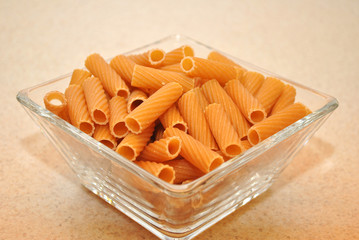 Wheat Rigatoni in a Square Glass Bowl