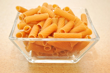 A Glass Bowl with Wheat Rigatoni