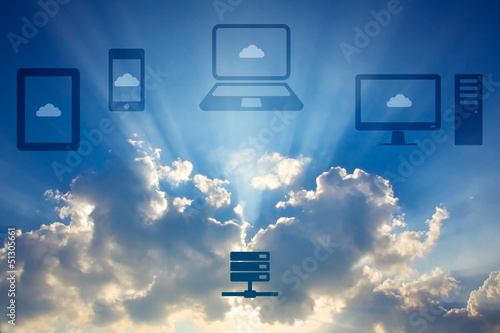 Cloud computing concept. Various devices connected to Cloud