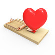 Red heart on mousetrap