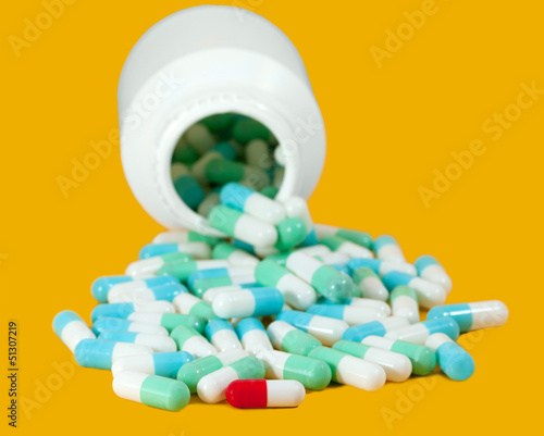 blue and red capsule pills