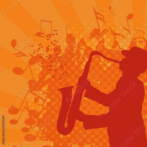 musical background with saxophonist