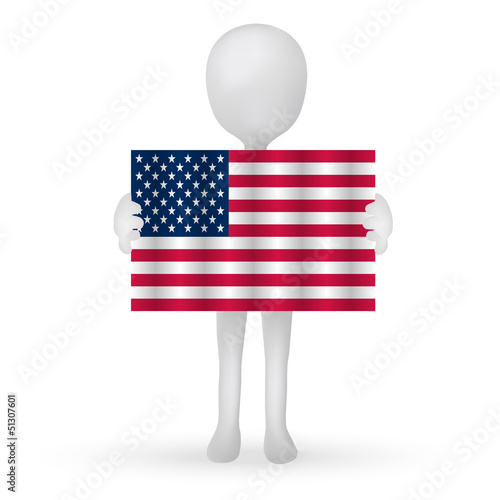 small 3d man hands holding a USA flag