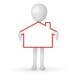 small 3d man hands holding a house