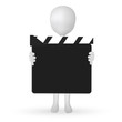 small 3d man hands holding a Clapper board