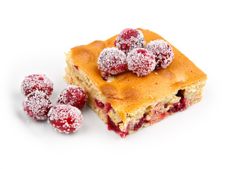 cranberries dessert with orange peel isolated on white