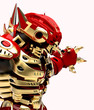 golden red robott close up