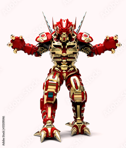 golden red robott