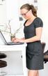 Geschäftsfrau schreibt auf Laptop