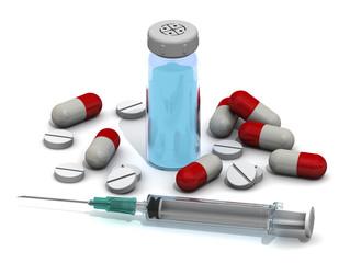 Лекарственные средства на белом фоне