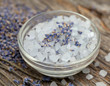 lavender bath salt on wooden surface