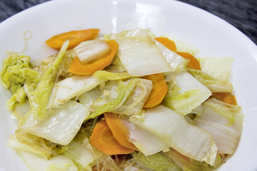 Stir Fry Chinese Cabbage Dish Closeup