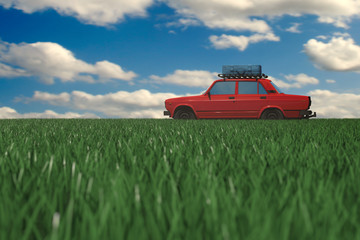 Red retro car on vacation