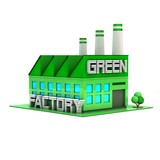Green Factory 3D illustration.
