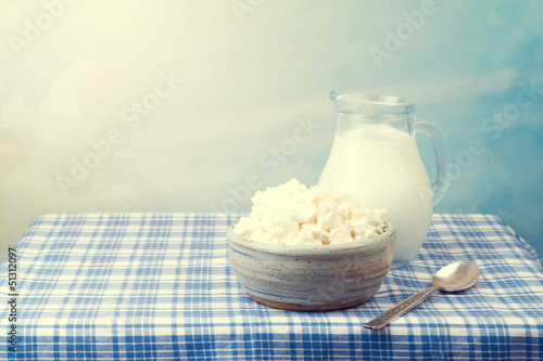 Cottage cheese and milk on tablecloth over beautiful background