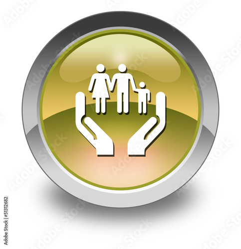 "Yellow Glossy Pictogram ""Social Services"""