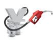 yen symbol with a gas pump nozzle