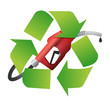 recycle symbol with a gas pump nozzle