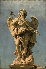 Angel statue in Rome, Italy - Vintage