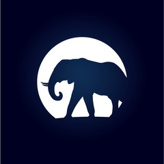 Vector Logo elephant and moon