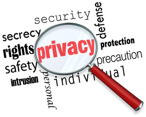 Privacy Word Magnifying Glass Online Security Identity Theft