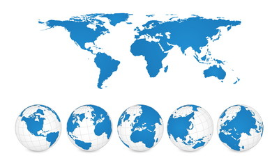 World Map and Globe Detail Vector Illustration, EPS 10.