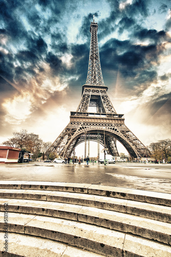 Paris. Gorgeous wideangle view of Eiffel Tower with Stairs to Se - 51315672