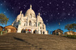 Beautiful Stars above Sacred Heart Cathedral in Montmartre - Par