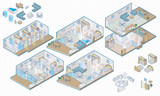 Isometric interior house and furnature