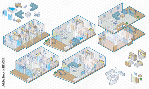Isometric interior house and furnature - 51316084