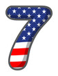 A number seven with the USA symbols