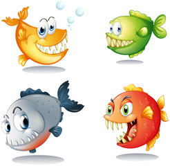 Four different kinds of fishes with big fangs