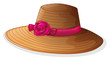 A brown hat with a pink ribbon